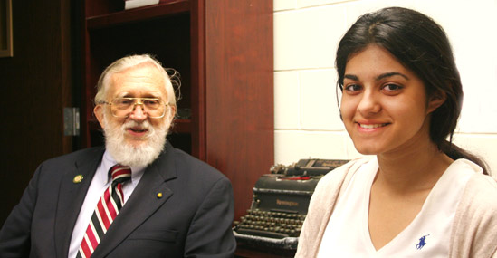 Distinguished Professor Emeritus Dean Martin with High School Grad Karina Bidani