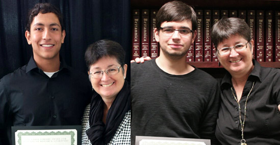 USF Libraries Director of Academic Services and Donor Nancy Cunningham with Ahmed Mohamed (left), and with Eduardo Garcia (right)