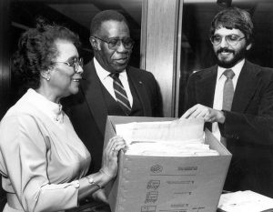 Civil rights leaders Robert and Helen Saunders donate extensive and noted records of the Saunders' civil rights battles during the past 30 years to Special Collections in the USF Library. Oracle 2/5/85 (with Dr. Steve Lawson, USF History Department)