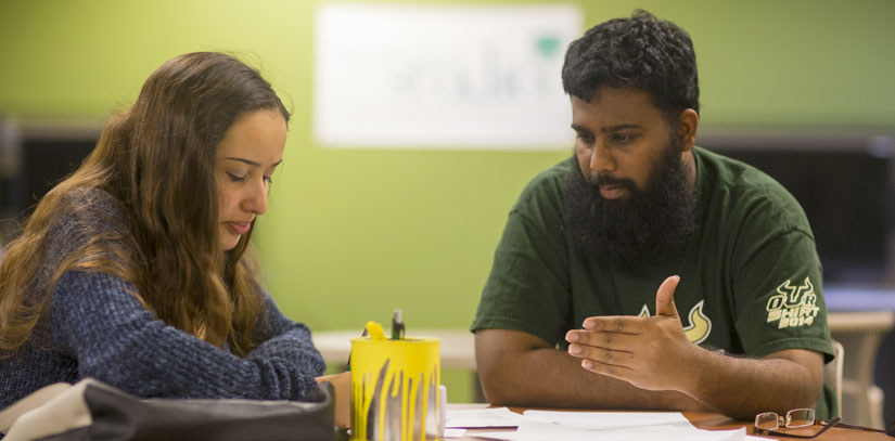 USF Graduate students studying together.
